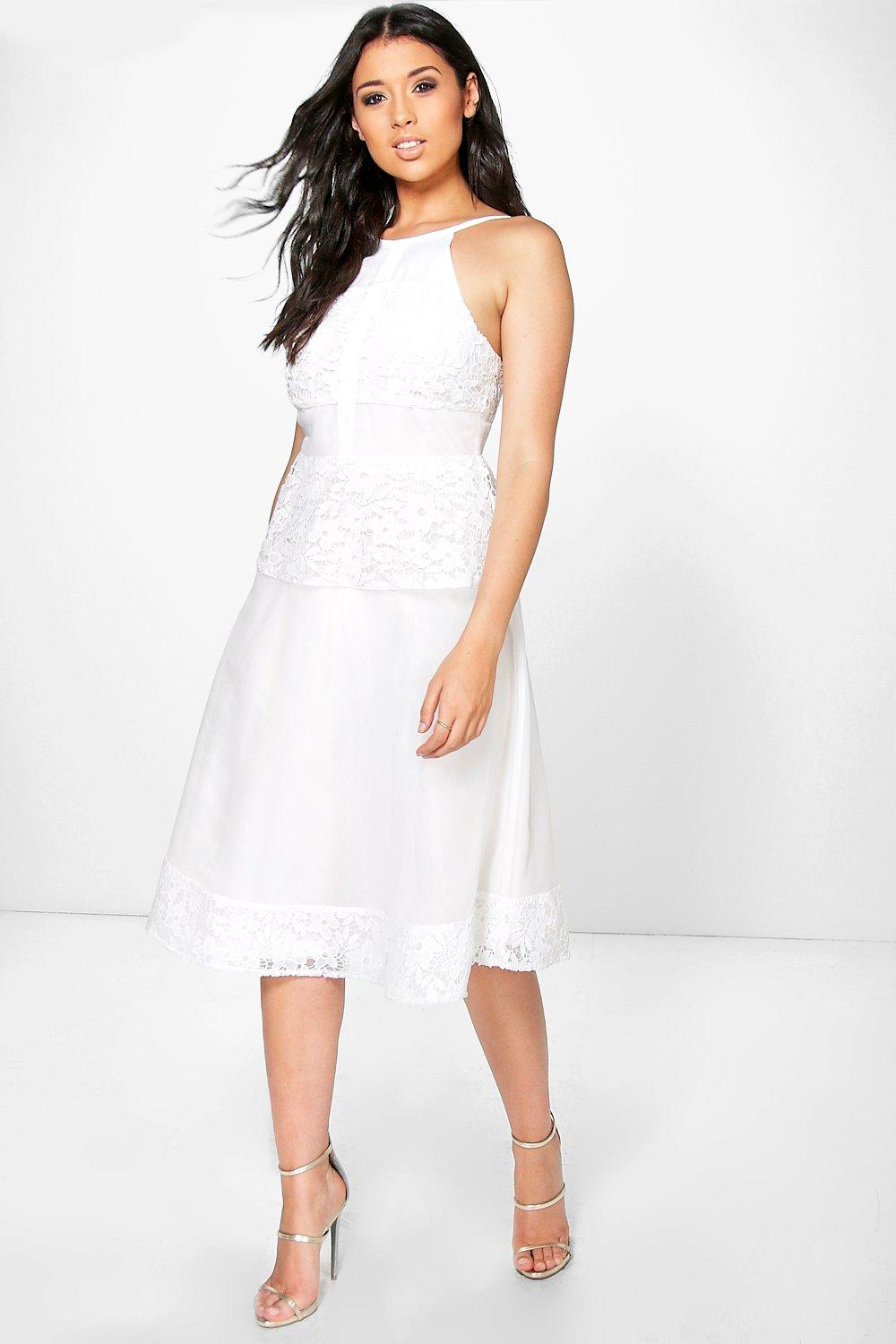 Boutique Eva Crochet Panelled Strappy Midi Skater Dress