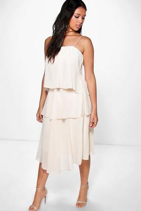 Mona Ruffle Chiffon Strappy Midi Dress
