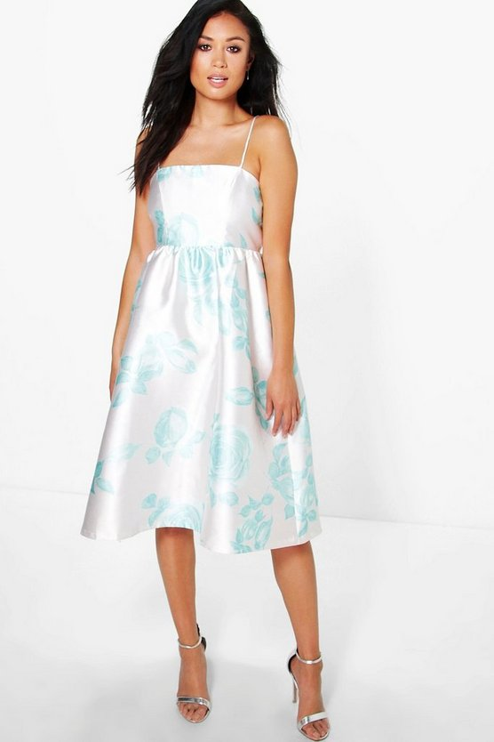 Boutique Ela Floral Sateen Strappy Midi Dress