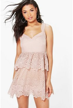Boutique Corded Lace Panel Detail Peplum Dress