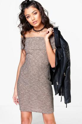 Holly Bardot Rib Knit Dress