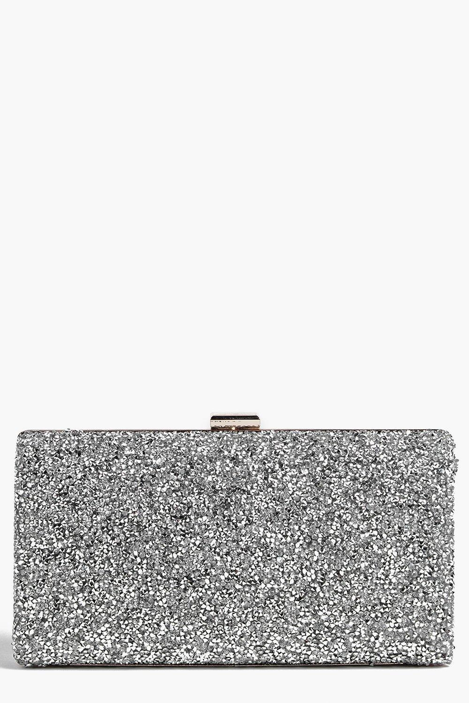 boohoo Womens Melissa Embellished Box Clutch Bag - Grey - One Size, Grey
