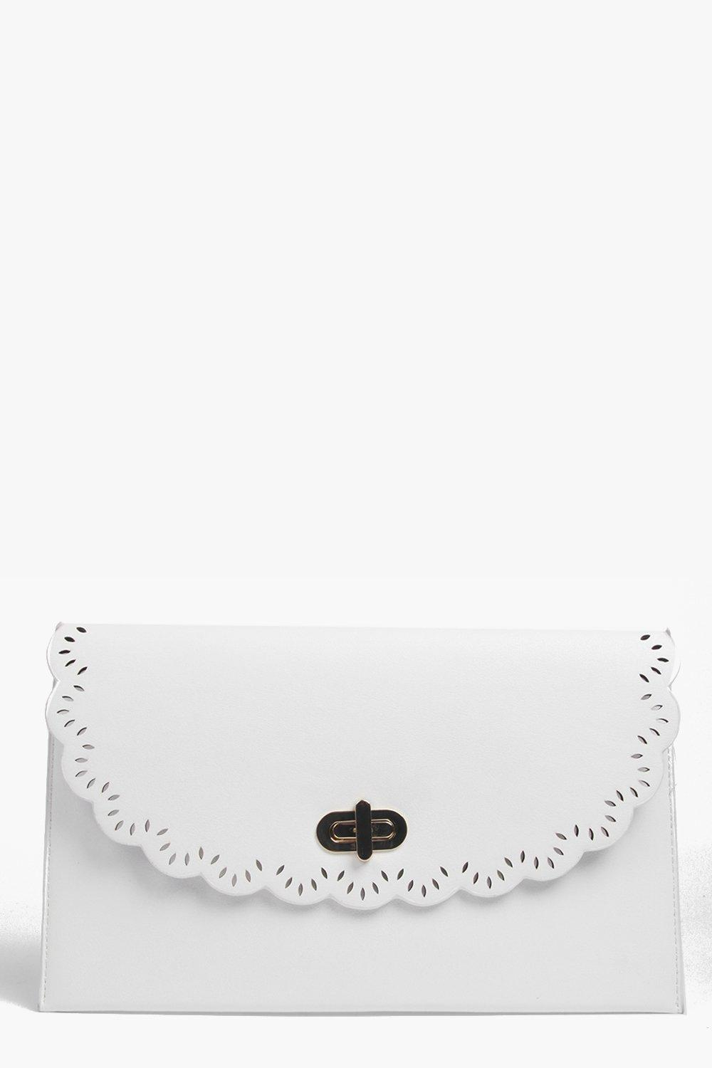 Tegan Scallop Edge Twist Lock Clutch Bag