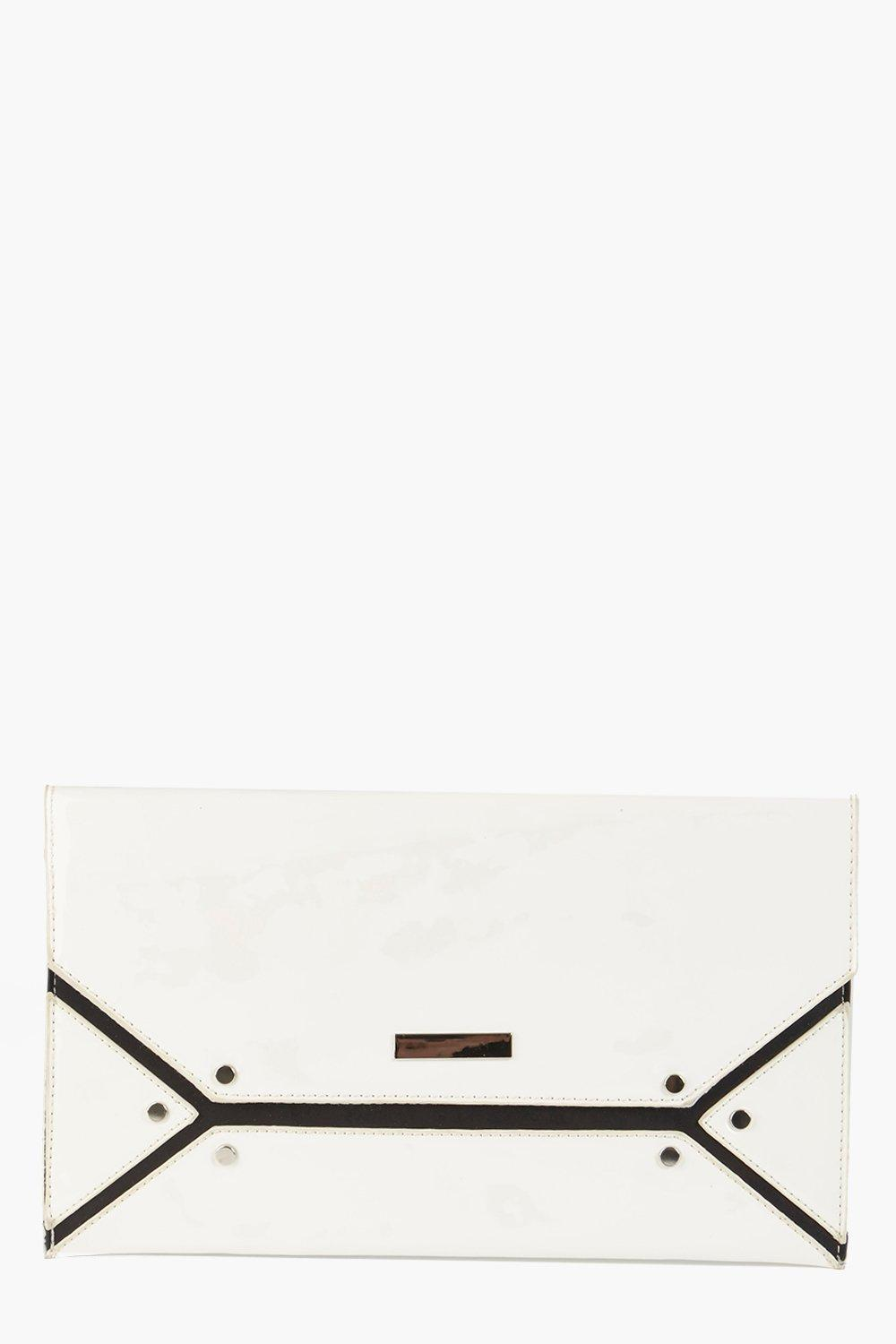 Laila Stud Detail Patent Clutch Bag