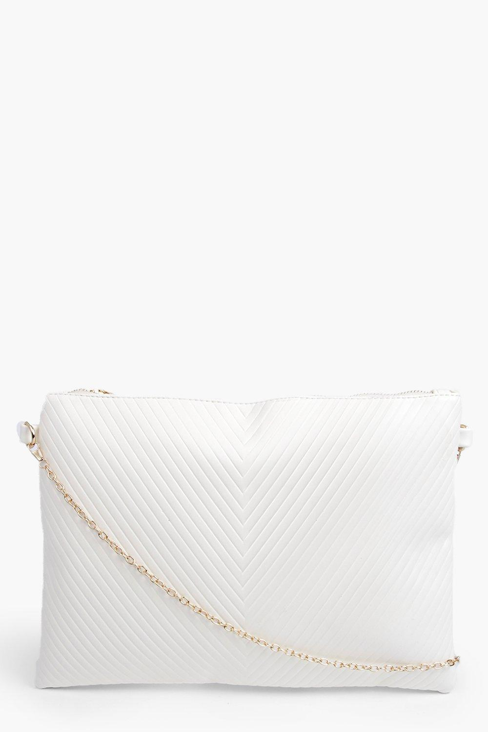Panelled Oversized Clutch Bag white