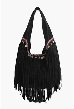 Rose Embroidery Detail Fringed Day Bag