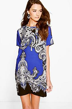 Christina Paisley Border Print Shift Dress