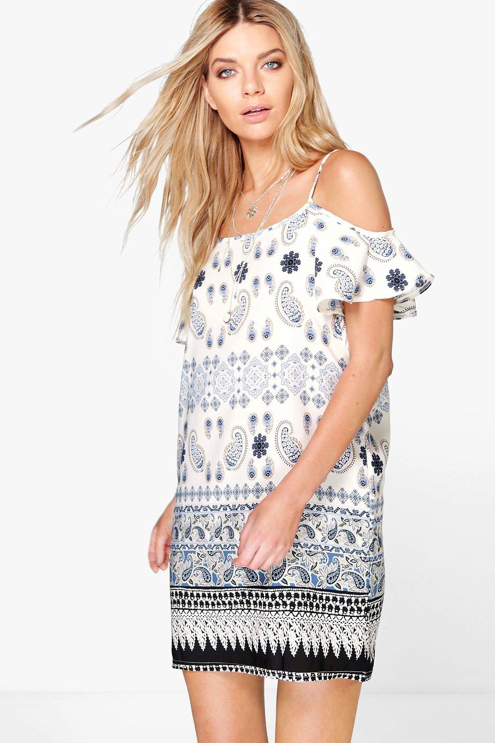 Pia Border Print Cold Shoulder Swing Dress