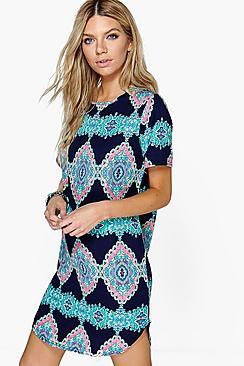 Emma Sleeveless Printed Shift Dress
