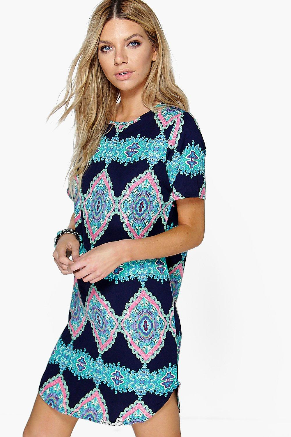 Emma Sleeveless Printed Shift Dress