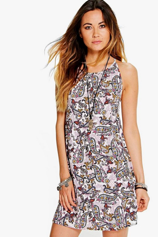 Helene Paisley Strappy Swing Dress