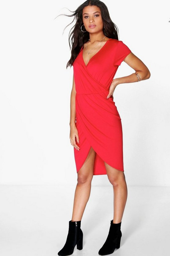 Elise Wrap Over Midi Dress