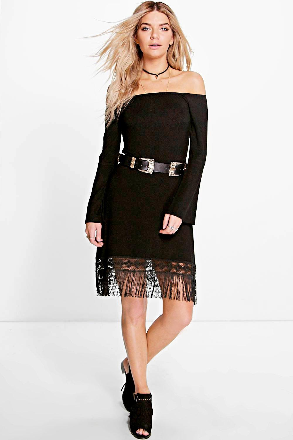 Off The Shoulder Fringe Dress black