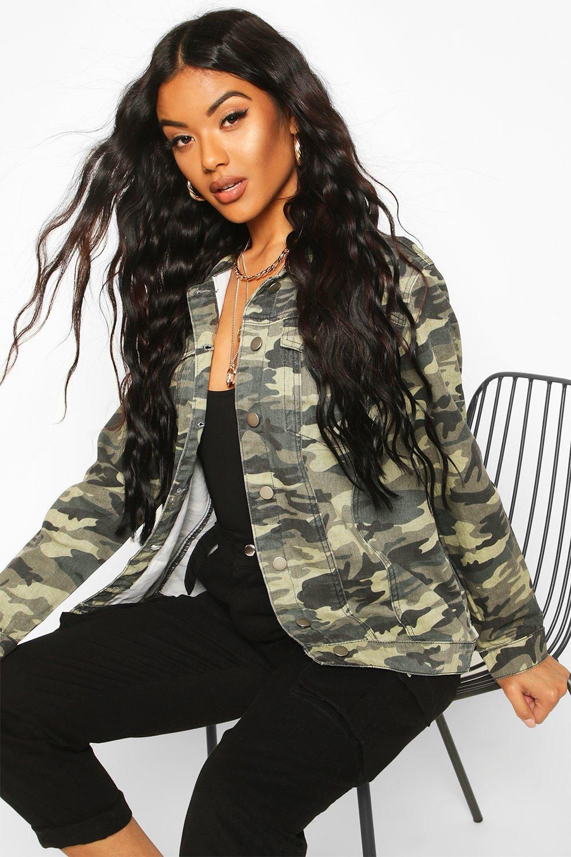 boohoo womens nadia oversize camo denim jacket in camo size 12 ebay. Black Bedroom Furniture Sets. Home Design Ideas