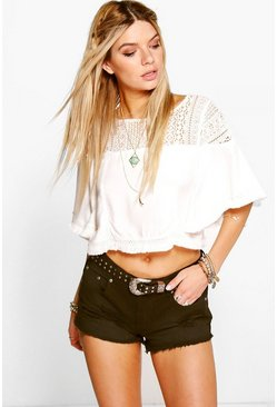 Sharon Low Rise Distressed Denim Hot Pants