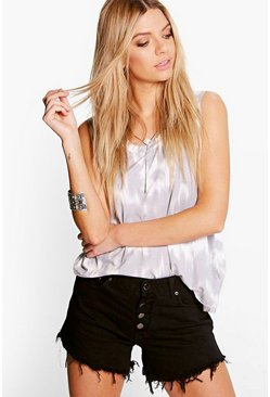 Gemma Button Fly Mid Rise Denim Hotpants
