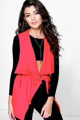 Lottie Sleeveless Shawl Collar Duster