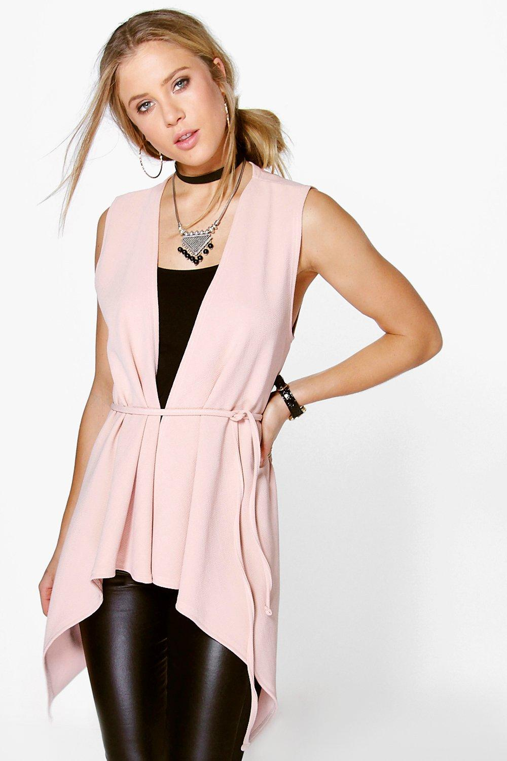 Harriet Sleeveless Shawl Collar Belted Duster