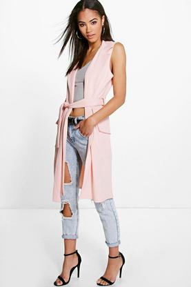 Anna Sleeveless Belted Longline Duster