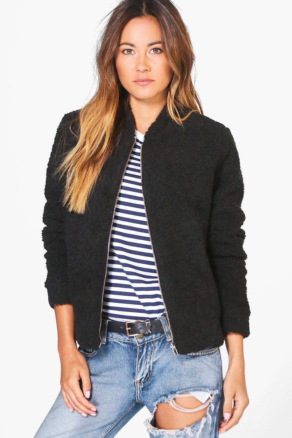 Evie Teddy Fur Bomber Jacket black