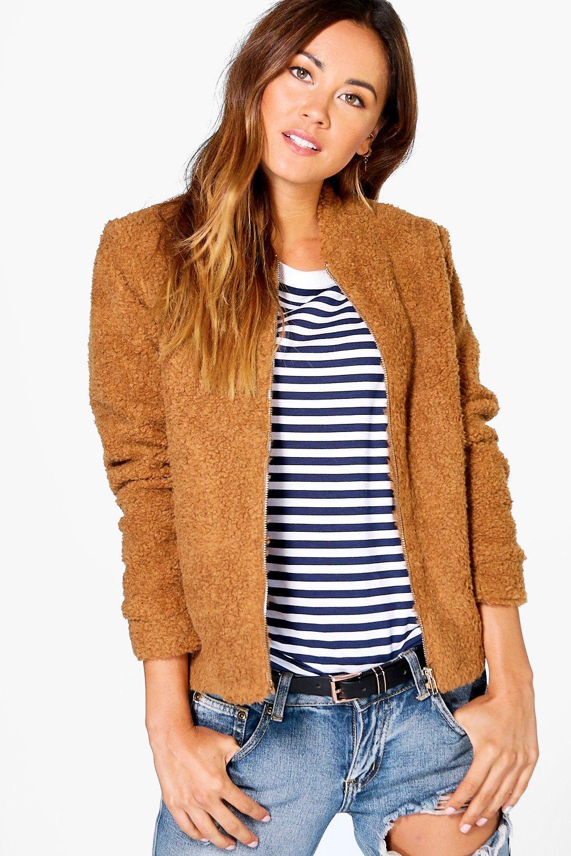 Evie Teddy Fur Bomber Jacket brown