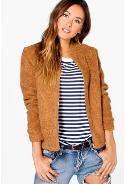 Boutique Evie Teddy Fur Bomber Jacket