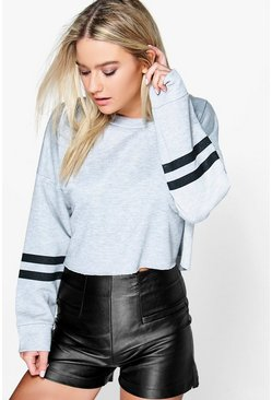 Yazz Cropped Baseball Fray Hem Sweat