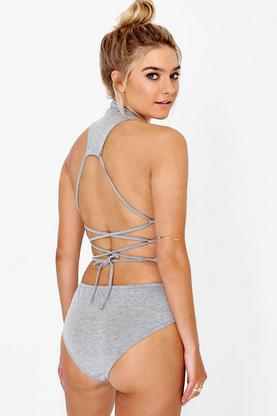 Kayla Lace Up Back Halter Body