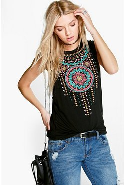 Aria Aztec Print Drop Arm Vest
