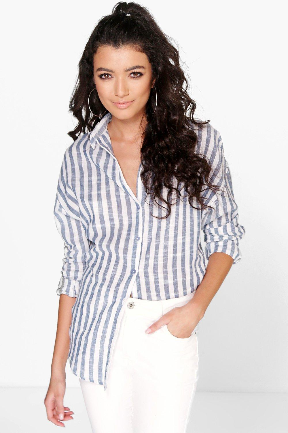 Hope Washed Out Stripe Oversized Shirt