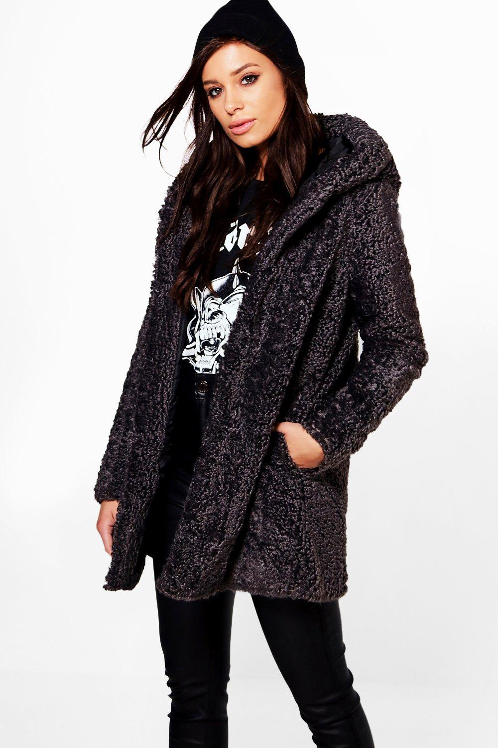 Maya Hooded Textured Faux Fur Coat  black