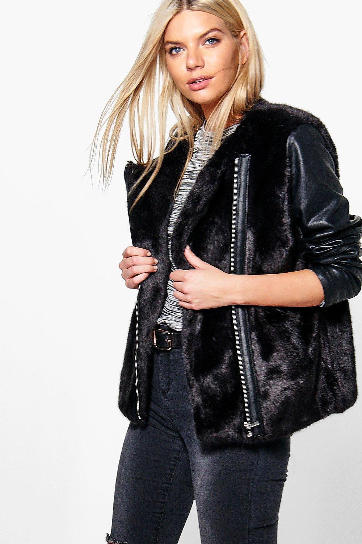 PU Sleeve Faux Fur Zip Up Jacket - black