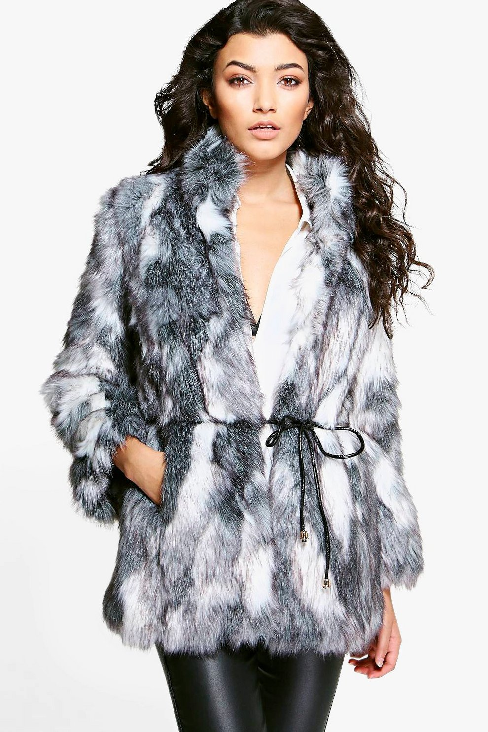 Boutique Emma Patchwork Faux Fur Coat With PU Belt | Boohoo