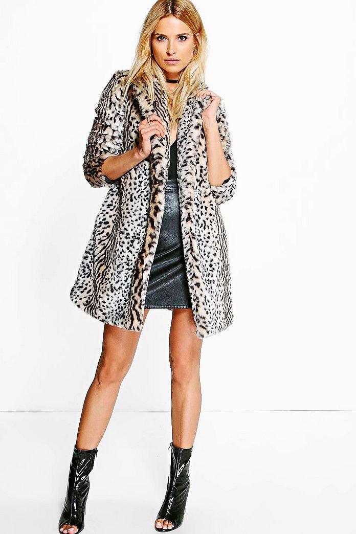 Boutique Amber Leopard Print Faux Fur Coat