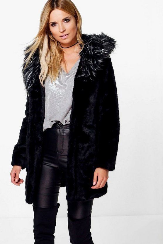 Boutique Sofia Contrast Hood Faux Fur Coat