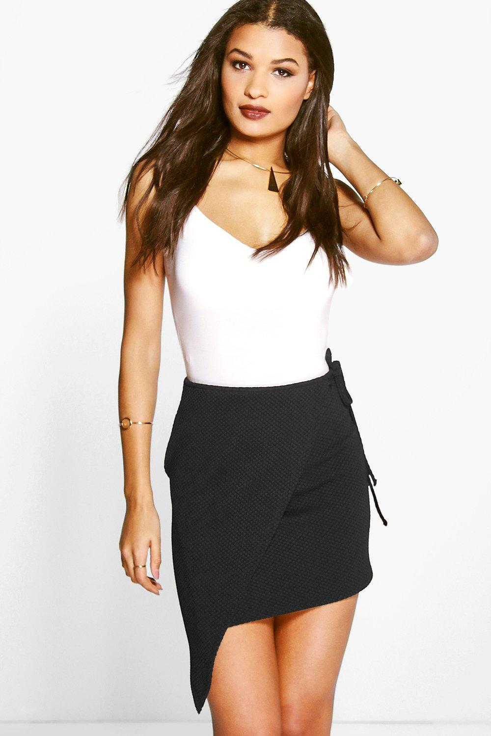 Millie Textured Wrap Asymetric Mini Skirt