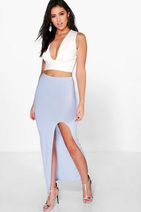 Lenone Ribbed Side Split Skirt