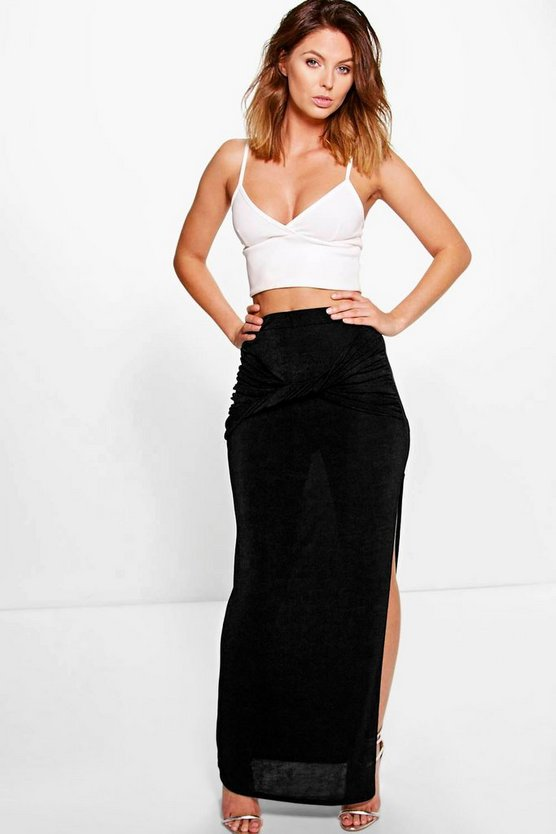 Tamzin Knot Front Side Split Maxi Skirt