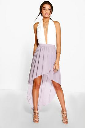 Ione Wrap Front Dipped Hem Maxi Skirt