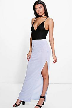 Aveline Side Split Textured Slinky Maxi Skirt
