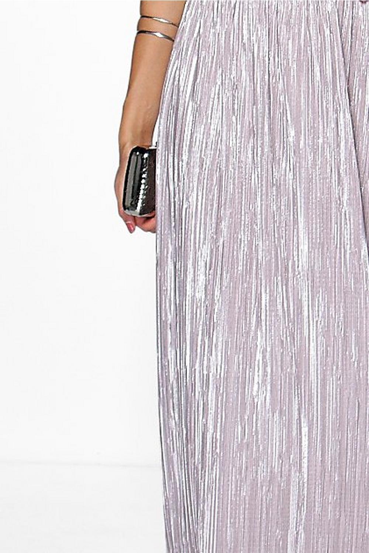 Aurelia Metallic Pleat Maxi Skirt | Boohoo