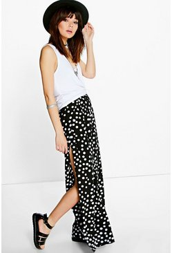 Sia Polka Dot Side Split Woven Palazzo Trousers