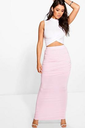 Beau Rouched Side Basic Maxi Skirt