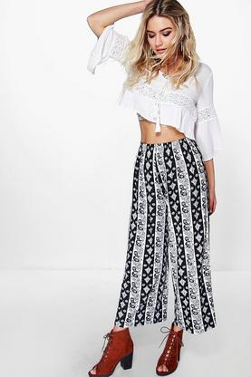 Lorelle Paisley Wide Leg Cropped Trousers