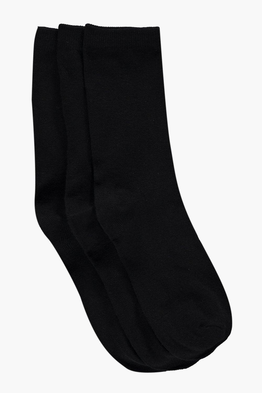 Plain 3 Pack Ankle Socks black