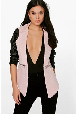 Lily Leather Look Sleeve Quilted Blazer