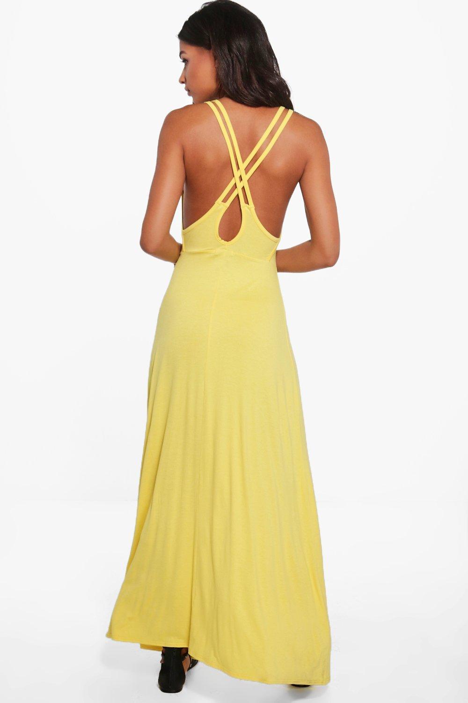 Double Strap Cross Back Maxi Dress  yellow
