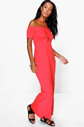Cassandra Halterneck Off Shoulder Maxi Dress