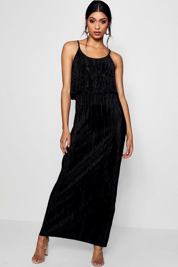 Dina Double Layer Crinkle Maxi Dress
