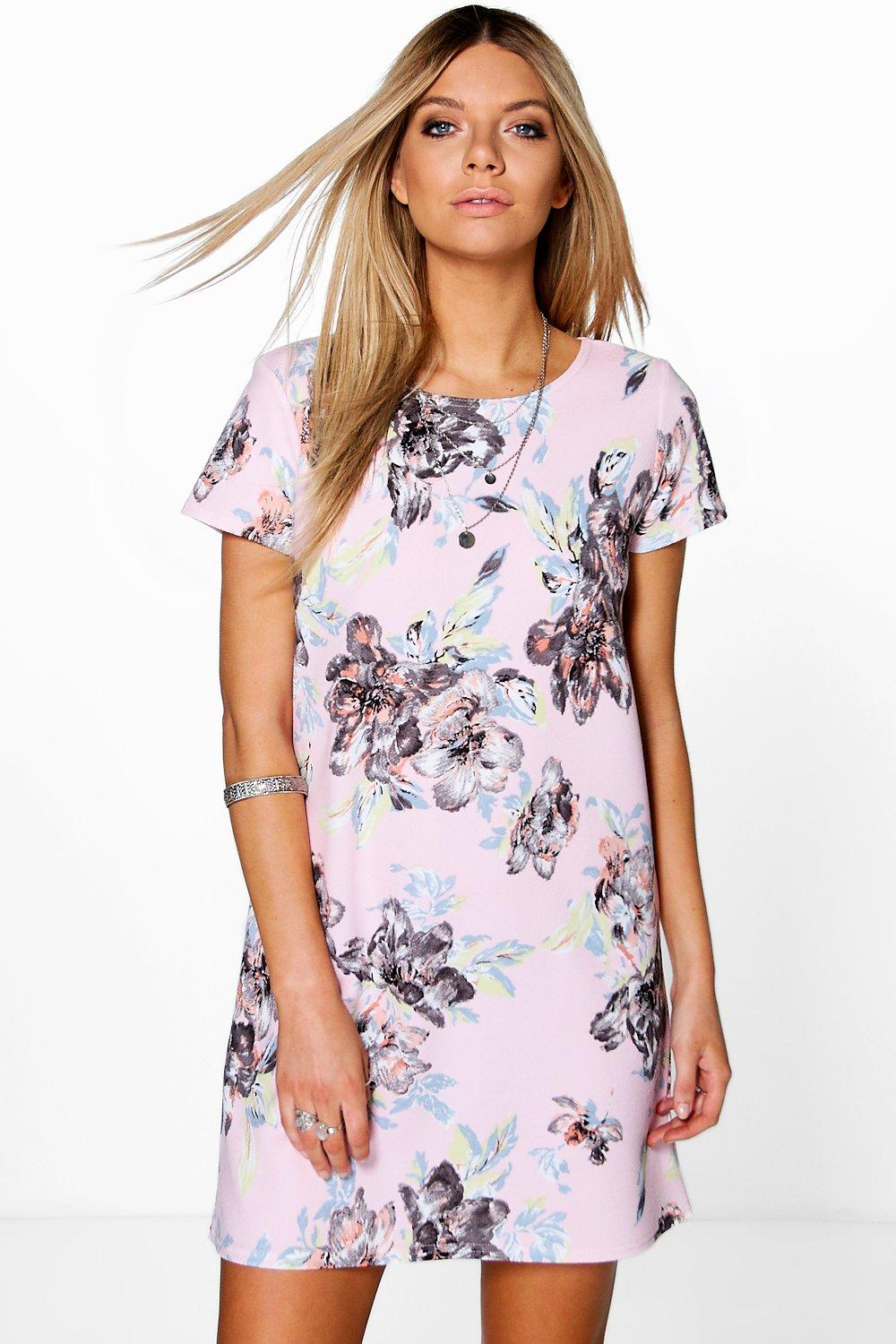 Floral Printed Shift Dress nude
